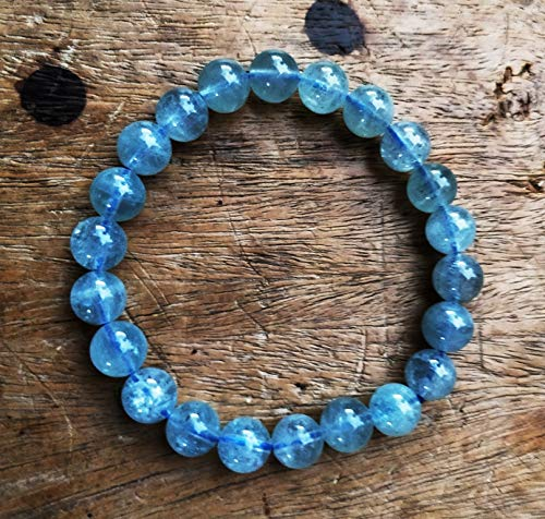 "+ 8 mm Naturel Facette Bleu Aigue-marine Round Gemstone Loose Beads 15/"" AAA"