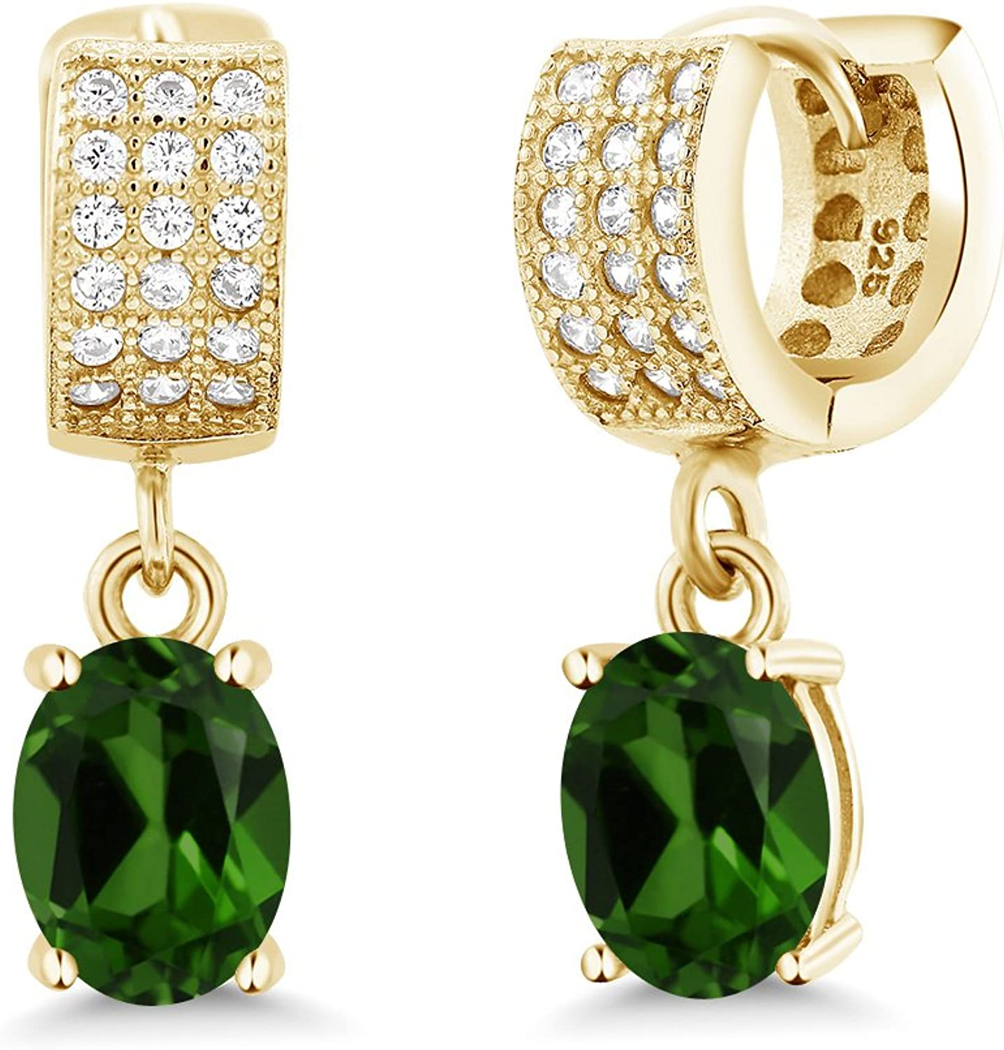 3.07 Ct Oval Green Chrome Diopside 18K Yellow gold Plated Silver Earrings