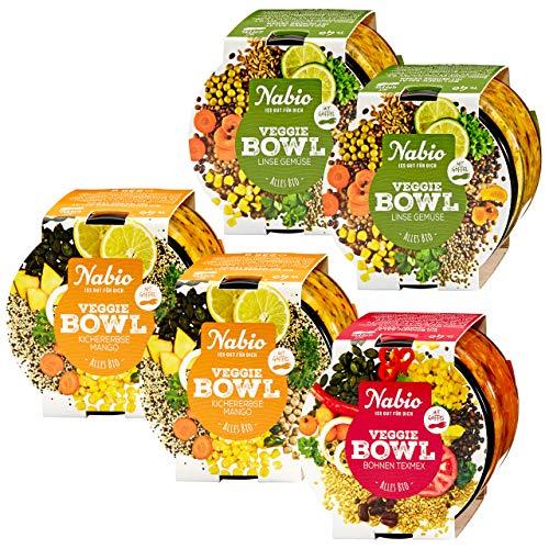 Nabio Veggie Bowl Bio Feinkostsalat Selection 3 Sorten - 2x Kichererbse Mango, 2x Linse Gemüse, 1x Bohne TexMex, vegan, mit To Go Holz-Göffel, 5 Stück (5x 235g)