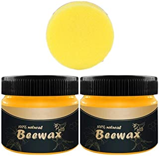 2 PACK Wood Seasoning Beewax,2020 Natural Traditional Beeswax Polish Wood Furniture Cleaner for Wood Doors, Tables, Chairs...