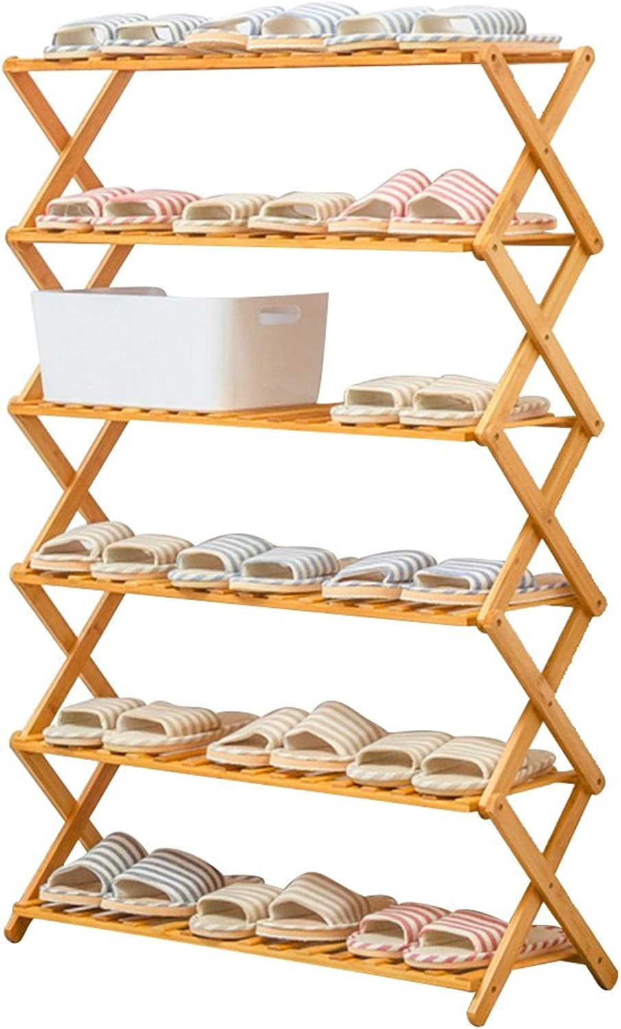 Bamboo, Bamboo, 6 Layers, Hard and Firm, Corrosion Resistant, High Temperature Resistant, Not Easy to Deform, Multi-Layer Simple Dust Proof Storage Rack. (Size   60  25  116cm)