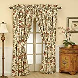 WAVERLY Felicite Rod Pocket Curtains for Living Room, Single Panel, 50' x 84', Creme