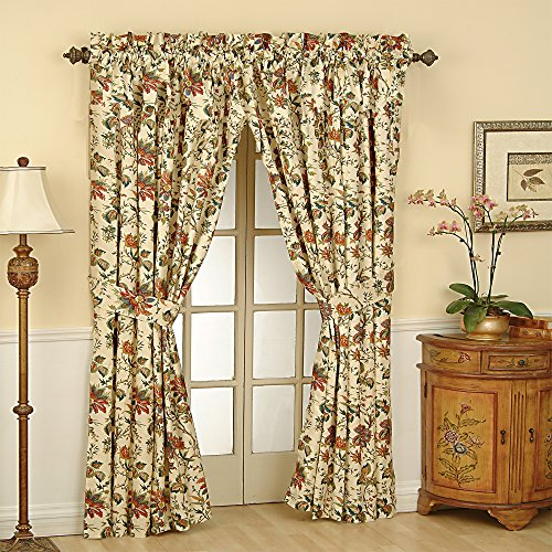 """WAVERLY Felicite Rod Pocket Curtains for Living Room, Single Panel, 50"""" x 84"""", Creme"""