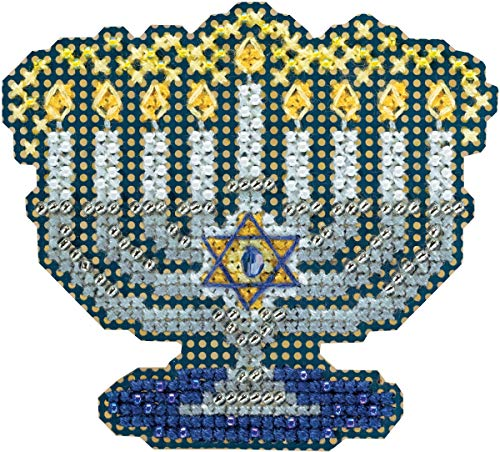 Menorah Beaded Counted Cross Stitch Hanukkah Ornament Kit Mill Hill 2018 Winter Holiday MH181833