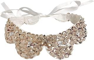 Gracelife Sequins Stud False Collar Handmade Detachable Blouse Stylish Pearl Decor Peter Pan Necklace Fake Collar Cloth Accessory (Bow 10)