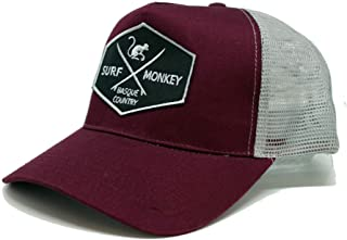 Burgundy Grey Snapback Trucker Cap - Surf Monkey Embroidered Patch - Pre-Curved Peak - 5 Panel Design - Adjustable snap Closure - Surfing The Basque Country