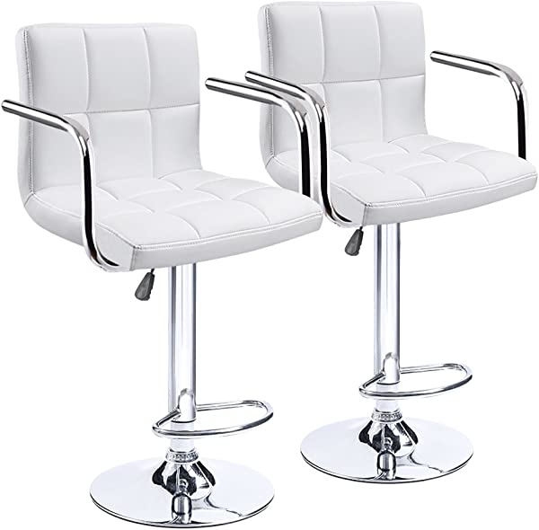 Homall Modern PU Leather Swivel Adjustable Barstools Synthetic Leather Hydraulic Counter Stools Square Height Bar Stool With Arms Set Of 2 White