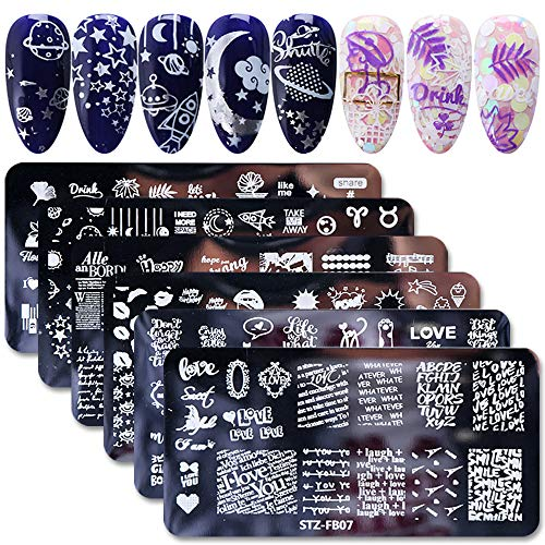 WOKOTO 6Pcs Nail Art Image Stamping Template Set Starry Sky Star Design Nail Polish Stamps Kit Manicure Stencils For DIY&Salon