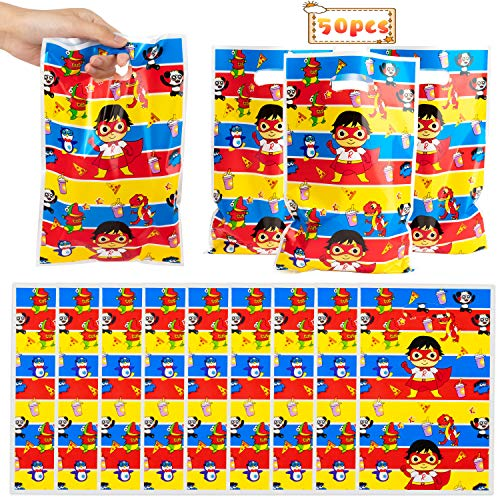 Haooryx Ryans Party Plastic Bags, 50pcs Party Gift Bag Goodies Candy Treat Bag for Kids Cartoon Ryans Theme Birthday Party Supplies Children Rewards Halloween Gift Baby Shower Decoration Pack