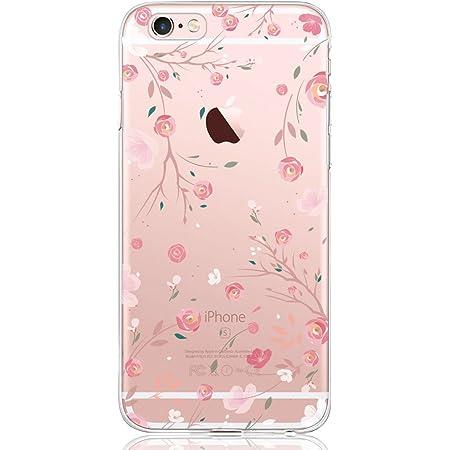 Oveo® Coque iPhone 6 Plus / 6S Plus, Série Dolce Vita Housse Etui Silicone Transparente pour Fille/Femme, avec Motif Fleur Rose