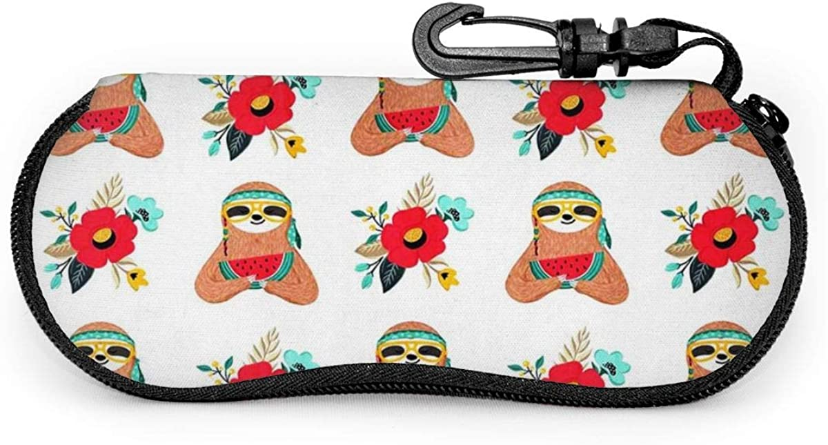 Funny Hippie Sloth With Flowers Eating Watermelon Sunglasses Soft Case Ultra Light Neoprene Zipper Eyeglass Case With Key Chain