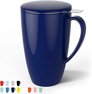 Sweese 201.103 Porcelain Tea Mug with Infuser and Lid, 15 OZ, Navy