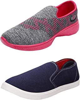 Bersache Women's Multicolor Combo Pack of 2 Canvas Casual Shoes for Women