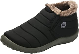 ZLY Men's Winter Snow Boots Slip-on with Fur Lined Ankle Boot Outdoor Warm Black Unisex Booties