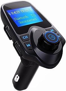 Winnes FM Transmitter, Bluetooth FM Transmitter KFZ Auto Radio Adapter Auto Ladegerät Zigarettenanzünder freisprecheinrichtung Car Kit mit 2 USB Ladegerät Kabelloses Auto Radio Sender T11