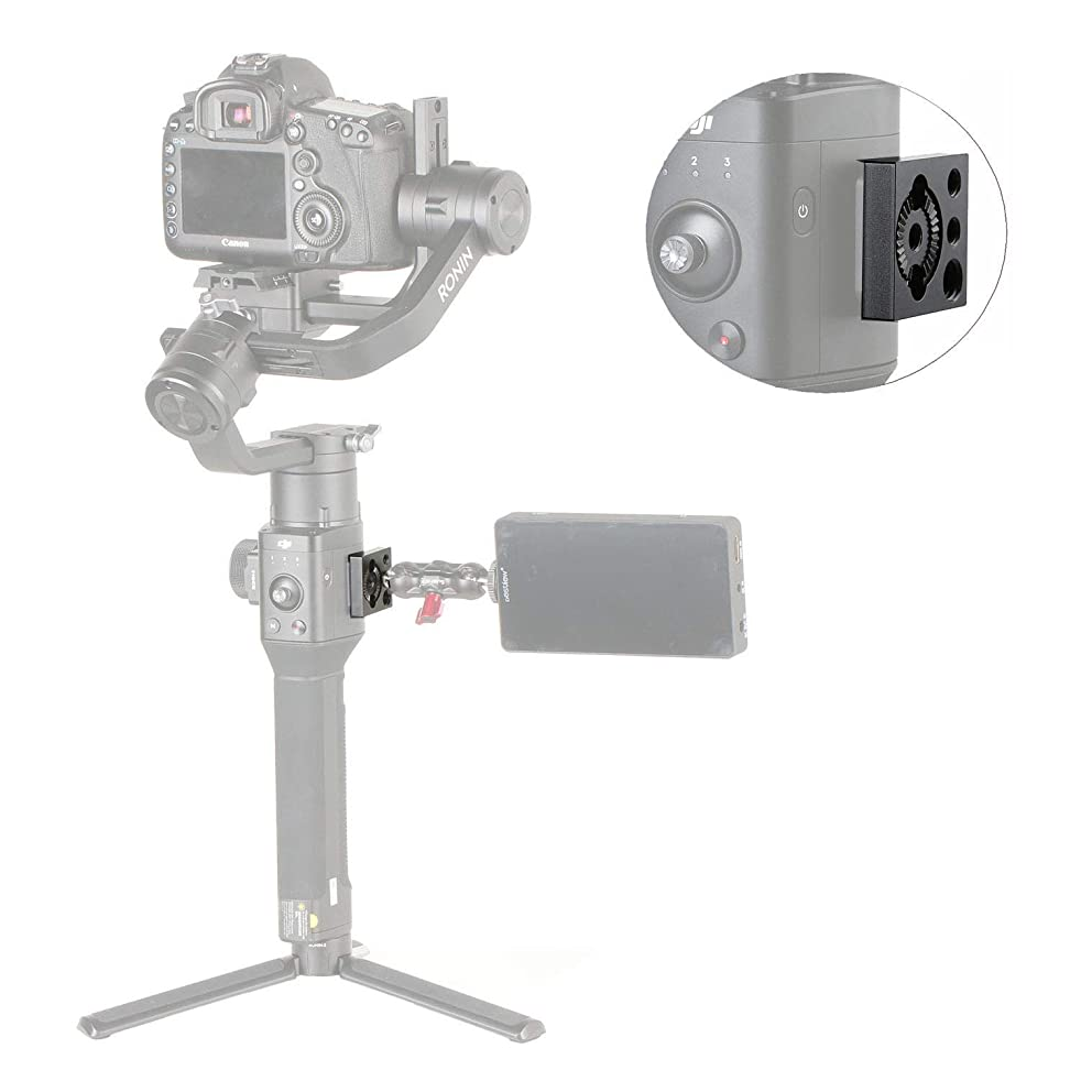 """Monitor Mount Compatible with Ronin S, FOTOWELT Monitor Mount Holder Compatible with DJI Ronin S Mounting Plate, with 1/4"""" Thread 3/8"""" Locating Hole for Magic Arm Handle,DJI Osmo Universal Mount"""