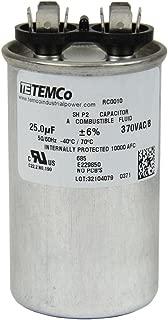 TEMCo Motor Run Capacitor RC0010-25 mfd 370 V VAC Volt 25 uf Round HVAC TEMCo AC Electric
