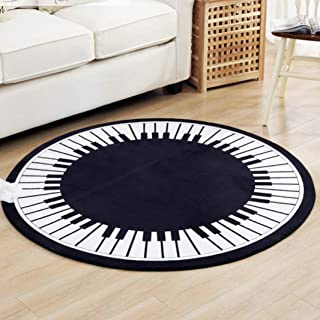 Sabull Piano Keys Round Rug Kids Crawling Mat Blanket Toys Game Coral Flannel Carpet Anti-Slip Mat