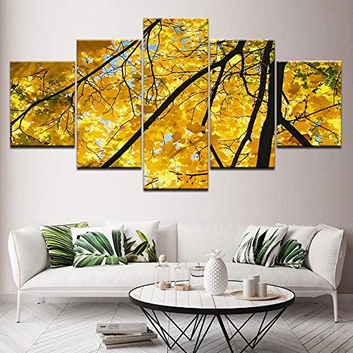 Wall Art 5 Pieces Canvas Painting Prints The Yellow Ginkgo Biloba Tree 5 Giclee Pictures Painting Printed On Canvas Modern Home Decor Wall 150X80Cm