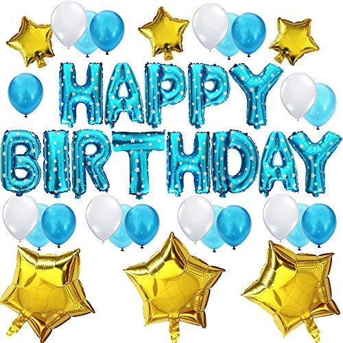 """KUNGYO Nettes Geburtstagsfeier Dekorations Kit-Blau""""Happy Birthday"""" Buchstaben Ballons+21 Stück Luftballons+6 Stück Stern-Perfekte Geburtstagsfeier Liefert für Jungen und Kinder"""