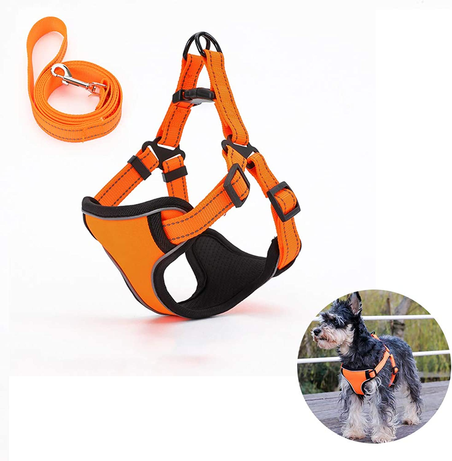 Dog Harness and Lead Set for Walking, Vest Harnesses with Buckle for, Easy Fit,Reflective (color  orange Purple Red),A