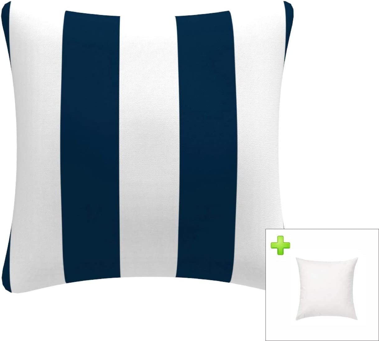 FBTS Prime Outdoor Decorative Pillows with Insert Navy and White Stripe  Patio Accent Throw Pillows 20x20 Inch Square Toss Pillows for Couch Bed  Sofa ...
