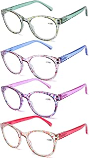 AQWANO 4 Pairs Round Blue Light Blocking Computer Reading glasses Fashion Colorful Designer Readers Spring Hinge Glasses for women, 1.0