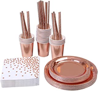 ENETOS 77 Pieces Disposable Dinnerware Set Party Supplies Paper Tableware for 8 Guests,Rose Gold Foil