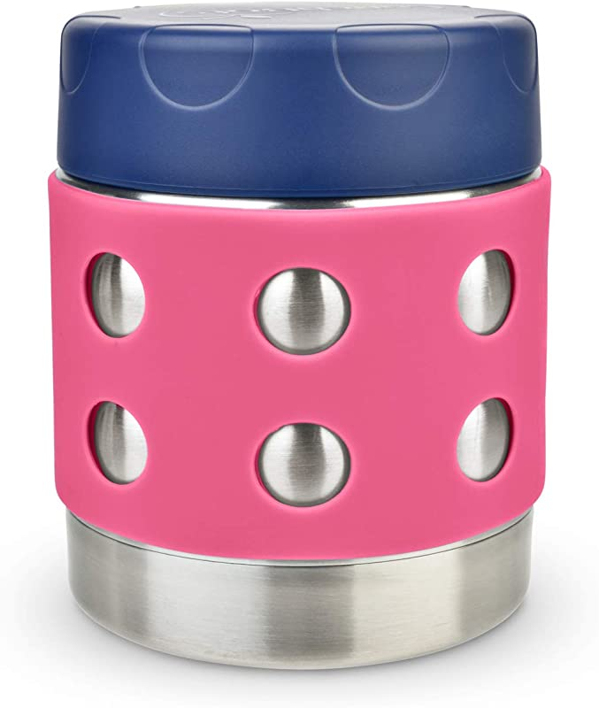 LunchBots Thermal 8 Oz Triple Insulated Food Container Hot 6 Hours Or Cold 12 Hours Leak Proof Thermos Soup Jar All Stainless Interior Navy Lid Pink Dots