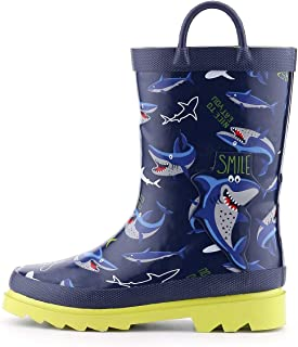 K KomForme Toddler Girl Kid Rubber Rain Boots,Waterproof Outdoor Soft Anti-Slip Shoes