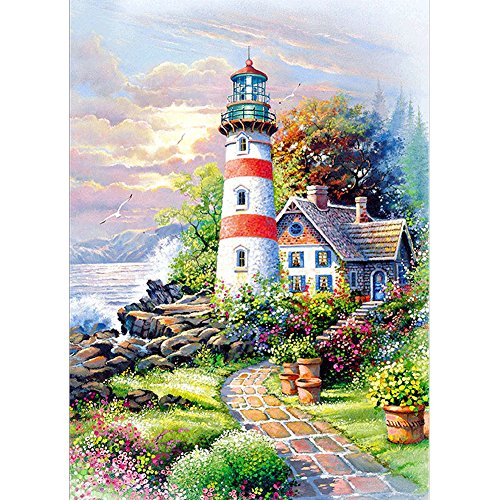 DIY 5D Diamond Painting by Number Kits, Crystal Rhinestone Diamond Embroidery Paintings Pictures Arts Craft for Home Wall Decor, Lighthouse and Cottage
