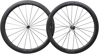 ICAN FL50 Carbon Road Bicycle Wheelset Clincher Tubeless Ready Rim Novatec AS511SB/FS522SB Hub Sapim CX Ray Spokes Only 1470g (Fast & Light Series)