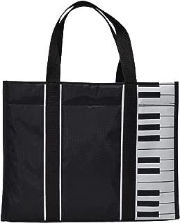 Piano Keys Music Tote Bag Waterproof Oxford Cloth Handbag Shoulder Tote Shopping Bag with Magnetic Snaps Buckle(Piano Keys-Black)