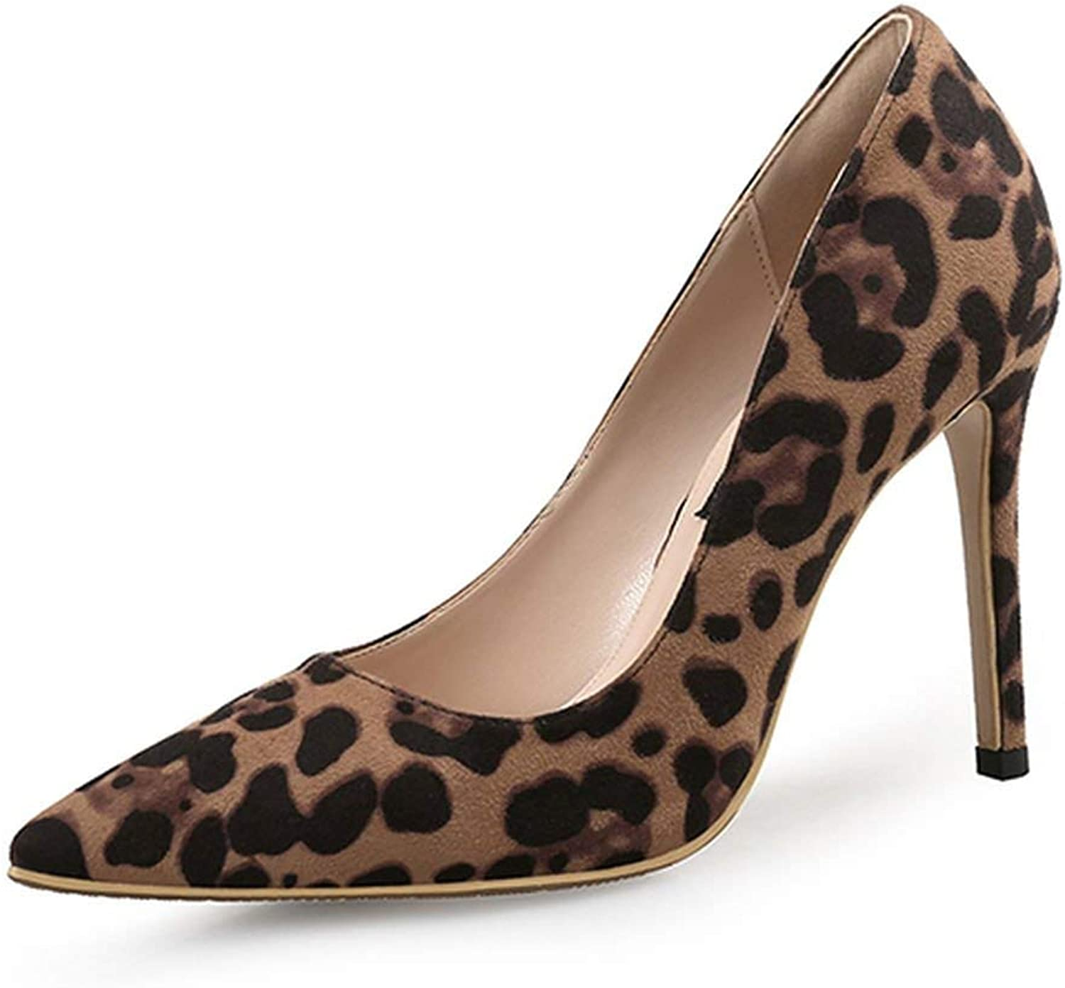 Heeled-Sandalssexy Women Pumps High Heels shoes Spring Leopard Thin Heels Woman Party shoes Plus Size Pointed Toe Single Female Pumps 45,Basic 8Cm,6
