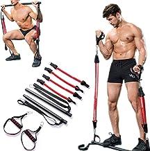 Arxus Pilates Bar Kit,Weerstandstrainingband en Verstevigingsbalk met Voetlus voor Yoga, Fitness, Stretching, Beeldhouwen,...