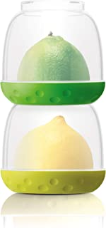New Soda Stackable Food Storage Containers, Small Foods Saver Pots, Stacking Containers with Lids, Lunch Box, Fruit, Vegetables, Leftovers - Bit Pots (Green/Yellow)