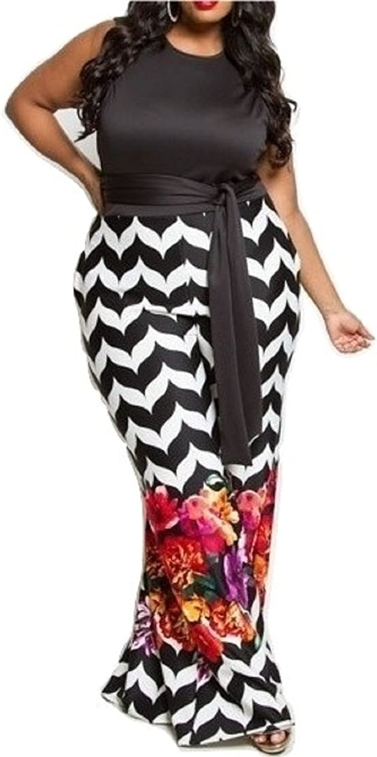 L'Diva Couture Boutique Women's Black Floral Jumpsuit, Plus Size