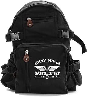 Krav Maga Israeli Combat Martial Arts Sport Canvas Backpack Bag in Black & White