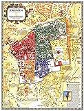 yiyitop Póster de Mapa de la Ciudad Vieja, póster de Pintura en Lienzo, Pintura de decoración del hogar de Tierra Santa islámica Cristiana (sin Marco) 50X70cm