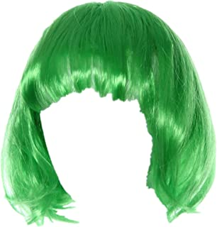 Cosplay Wig, Leoy88 Small Roll Bang Short Straight Hair Wig for Party (Green)