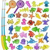 Nunki Toy Angeln Spielzeug, Badespielzeug, 39 Stücke Magnetisches Angeln Spielzeug, Originales farbiges wasserdichtes schwebendes Spielzeug in der Badewanne Lernspielset zum Angelnlernen