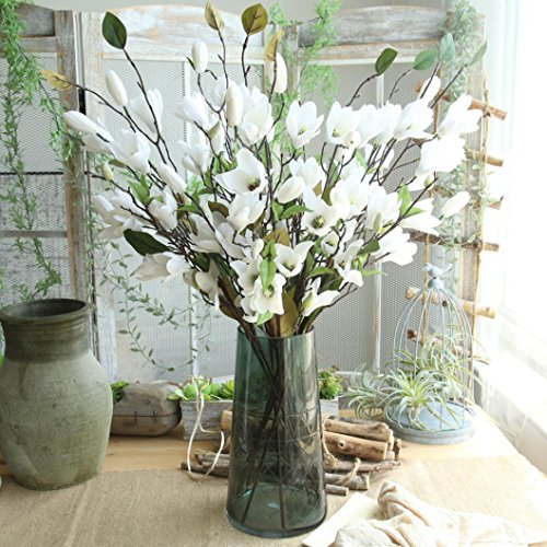 Gaddrt Artificial Fake Flowers Leaf Magnolia Floral Wedding Bouquet Party for Home Decor (White)