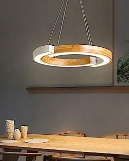 Hanglamp van hout, dimbaar, led, rond, modern, onregelmatige ring, eiken, lampenkap van acryl, eettafel, eetkamer, slaapka...