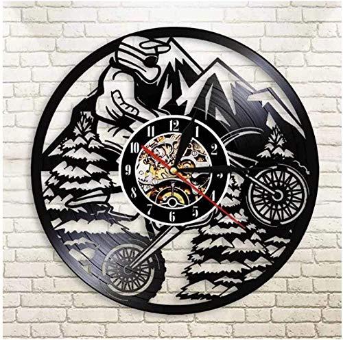 Reloj de pared Record Motocicleta Bicicleta de montaña Reloj de pared de vinilo Decoración del hogar Diseño hecho a mano Decoración única para el hogar Regalo de cumpleaños de Navidad Hombres Mujeres