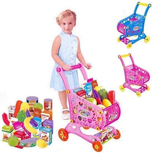 Kinder-Einkaufswagen-Spielzeug-Kindersupermarkt-Trolley-Spielsatz mit Toy Food Fruit Vegetables (Farbe   Blau)