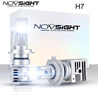 Novsight LED Headlight Bulbs All-in-One Conversion Kit - H7 Led Headlight Bulbs - 60W 10, 000Lm 6000K Cool White - Match for 99% vehicles. Halogen lamp 1:1 DESIGN - 2 Year Warranty