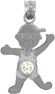 14k White Gold Baby Boy April Birthstone Diamond Pendant