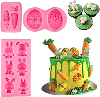 BUSOHA Easter Day Mold Set - Easter Day Bunny Mold/Egg Mold/Carrot Mold Fondant Silicone for Cake Baking Cake Topper Decorating Chocolate Candy Mini Soap Wax Crayon Polymer Paper Clay Tools