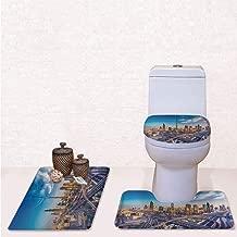 Comfort Flannel 3 Pcs Bath Rug Set,Contour Mat Toilet Seat Cover,Panoramic View of Dubai Arabian Cityscape High Rise Buildings Traffic Roads with Blue Ivory Marigold,Decorate Bathroom,Entrance Door,k