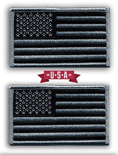 2Stück American Flagge bestickt Patches schwarz/silber antik Look USA United States of America,...